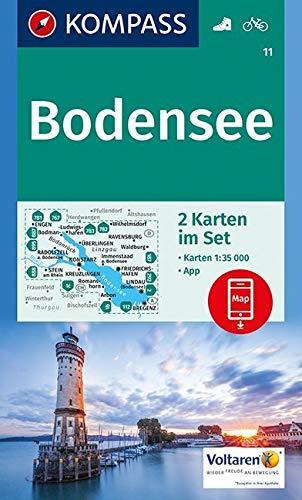 KOMPASS Wanderkarte Bodensee: 2 Wanderkarten 1:35000 im Set inklusive Karte zur offline Verwendung in der KOMPASS-App. Fahrradfahren. (KOMPASS-Wanderkarten, Band 11)