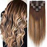 S-noilite Clip in Human Hair Extensions Dip-Dye Ombre Thick True Double Weft 100% Remy Human Hair Full Head 8 Pieces 18 Clips (18 Inch - 140g,Medium Brown/Dark Blonde/Medium Brown (#T04/27/04))