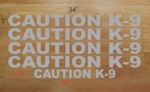 Caution K-9 Decal Set Police Dog Grey Silver Gray Sticker Lot k9 4 Car Truck Van or Suv Kit