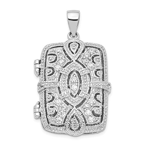 925 Sterling Silver Cubic Zirconia Cz Oval Design Square Locket Pendant Charm Necklace Shaped Fine Jewellery For Women Gifts For Her
