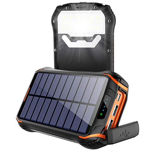 Cargador Solar Portátil Power Bank Solar 268000mAh, Batería Externa Solar con Carga Rápida 3 Salidas USB y 2 Entrada USB-C IP66 Impermeable 18 LED Linterna SOS 4 Modos, para Smartphones y iPad