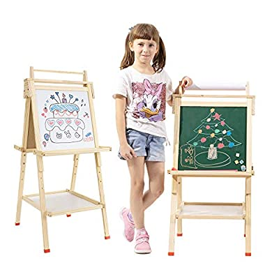 USELUCK Kids Easel with Paper Roll?Double-Sided Drawing Easel-Dry Erase Board & Chalkboard Standing Adjustable Height Drawing Easel Board?Bonus Magnetics, Numbers?and Other Accessories for Kids (L)