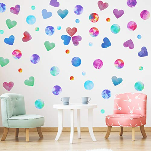 12 Sheets Colorful Dots Hearts Wall Decals Watercolor Hearts Polka Dots Wall Sticker Watercolor Heart Circle Wall Decals for Bedroom Girls Nursery Room Decor