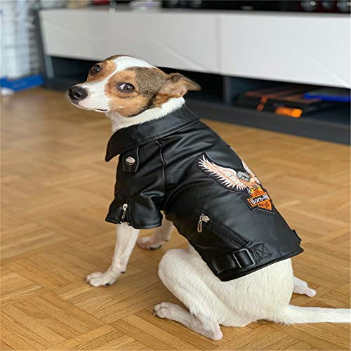 Soft Puppy PU Leather Jacket Waterproof Coat Winter Warm Clothes for Pet Dog Cat (XS)