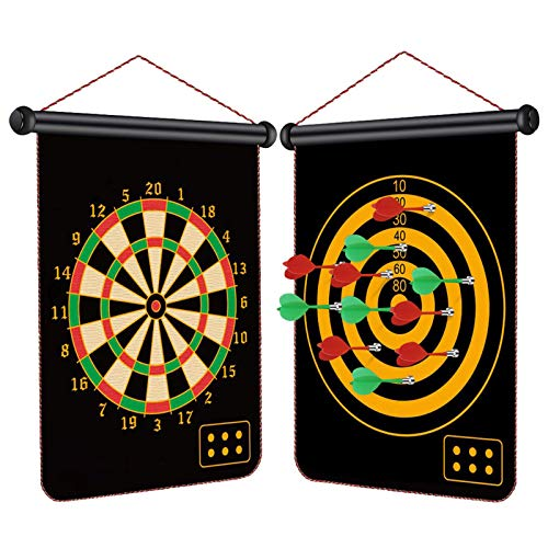 Magnetic Dart Board for Kids, 12pcs Magnetic Darts, 15' Double Sided Board...