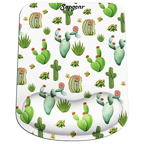 Supgear Tappetino Mouse Poggiapolsi, Mouse Pad Ergonomico con Gel Poggiapolsi e Superficie Liscio, Base in Gomma Antiscivolo per PC, Notebook e Laptop (Cactus)