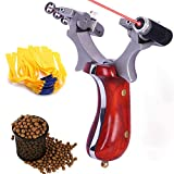 Hunting Slingshot Powerful Slingshots High Velocity Catapult with 5 Rubber Bands, 100 Slingshot Clay Ammo for Professional Hunting Slingshots Powerful Sling Shot with Aiming Sight