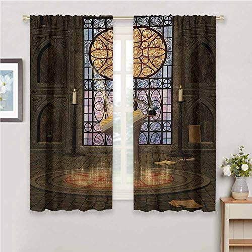DIMICA Blackout Curtain Liner Gothic Lectern on Pentagram Symbol Medieval Architecture Candlelight in Dark Altar Print for Window Curtains Valances W84 x L84 Inch Olive Green Mustard