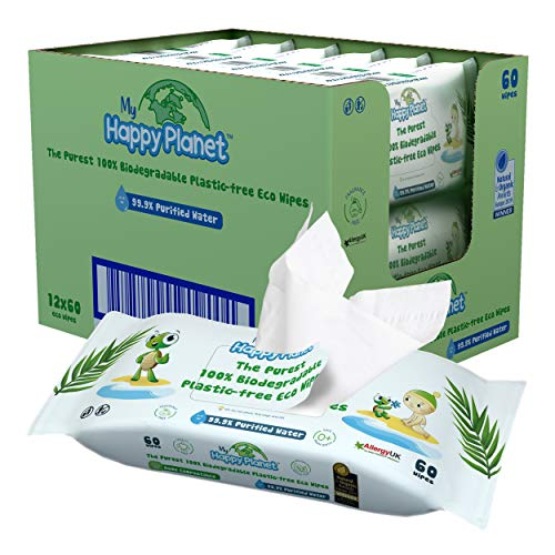 My Happy Planet Wet Wipes Salviette biodegradabili ecologiche biodegradabili al 99,9% di acqua purificata - Vegan