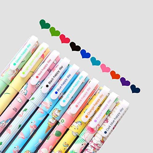EUGU Bolígrafos de tinta gel- 5 unicornio y 5 flamenco, pluma de gel 0.5mm,10 colores de tinta.