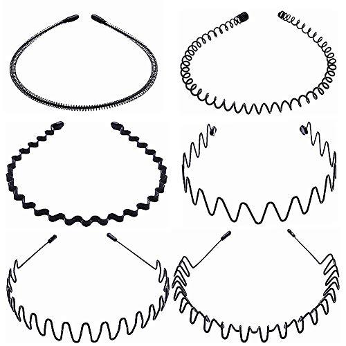 MWOOT 6 Stück Haarreif aus Metall für Damen/Herren/Unisex, Schwarz Stirnband Kopfschmuck Zubehör zum Gesichtsreinigen Schminken Sport