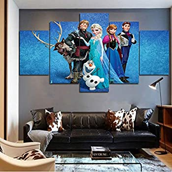 5 Pieces Frozen Poster Wall Art Canvas Painting Wall Pictures for Living Room Decor Mural Decoration Art Print