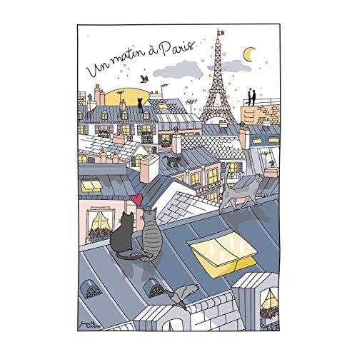 Winkler - Torchon - Torchon de cuisine - Chiffons de nettoyage - Serviette de cuisine - Torchon à vaisselle - Torchon de cuisine 100% Coton - 48 x 72 - Ecru - Toits de Paris