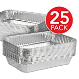 Aluminum Foil Drip Pans (25 Pack) Grill Compatible Drip Pans - Disposable Grease Catch Trays - Grill Drip Pan Liners to Catch Grease - BBQ Drip Pan - 8.25 x 6