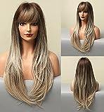 VEBONNY Peluca Ombre con flecos, marrón Ombre plateado ceniza rubio peluca para mujer, peluca de pelo sintético sin pegamento, peluca larga recta Afro 22 pulgadas VEBONNY-159