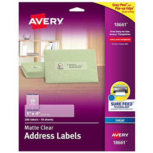 "Avery Matte Frosted Clear Address Labels for Inkjet Printers, 1"" x 4"", 200 Labels (18661)"