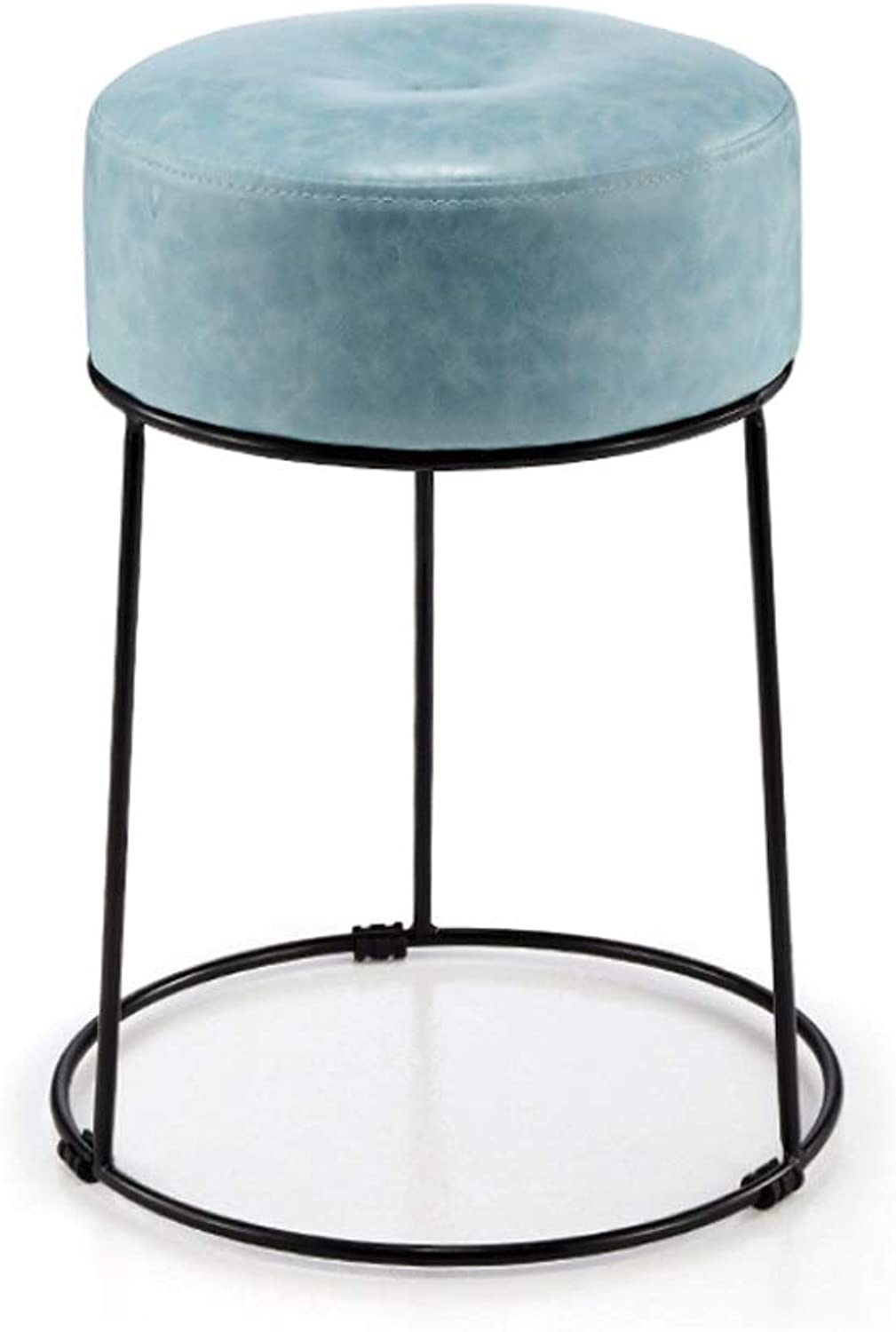 WXL Stool Home Thickening Adult Stool high Stool high Round Stool Dining Table Dining Table Stool Iron Stool Small Chair (color   bluee)