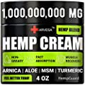 Hemp Pain Relief Cream - 95 000 MG - Made in USA - 4OZ - Relieves Muscle, Joint Pain - Lower Back Pain - Inflammation - Hemp Oil Extract with MSM - EMU Oil - Arnica - Turmeric from Arvesa