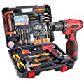 108 Piece Power Tool Combo Kits with 16.8V Cordless Drill, Household Tools Set with DIY Hand Tool Kits for Professional Garden Office Home Repair Maintain-Black/Red