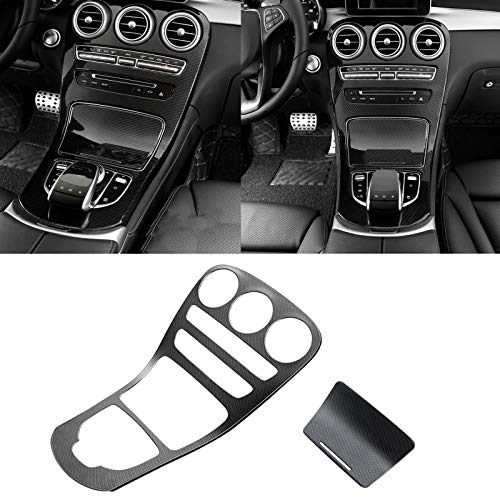 Xotic Tech Carbon Fiber Pattern Center Console Gear Shift Panel Cover Trim Central Control Panel Frame Decor for Mercedes Benz C Class W205 / GLC Class W253 2015-2018 (Long Wheelbase, Without Clock)