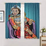 Irene Rossetti Astronaut Black Out Insulation Curtain, Retro Inspired Space Lady with Purse on a Chair Girl Power Womens Day Shades Panels (72x84 Inch, Petrol Blue Multicolor)
