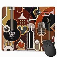 楽器コレクション マウスパッド ノンスリップ 防水 高級感 習慣 パターン印刷 ゲーミング ホビー 事務 おしゃれ 学習 25x30cm