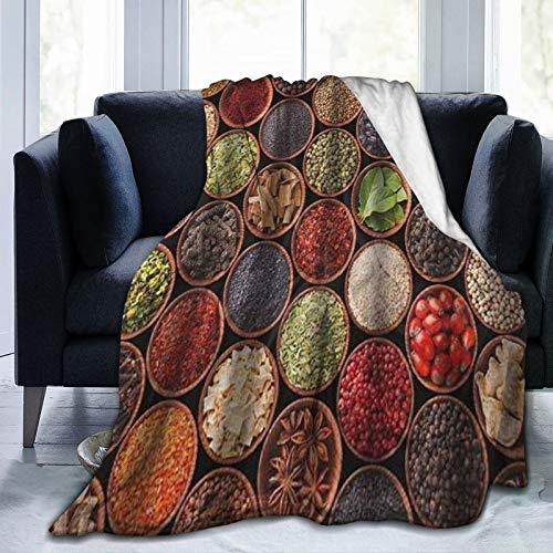 HATESAH Manta de Franela Suave,Coloridas Hierbas Y Especias Cardamomo Pimienta Chile Jengibre Eneldo Cocina Natural,Cama de Camping para sofá 204x153cm