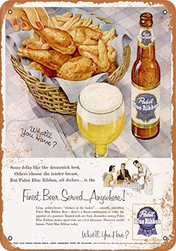 AMELIA SHARPE Vintage Retro Collectible tin Sign - 1954 Pabst Beer and Fried ChickenReproduction -Wall Decoration 12x8 inch Poster Home bar Restaurant Garage Cafe Art Metal Sign Gift