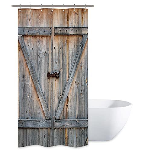 Riyidecor Stall Barn Door Shower Curtain 39Wx72H Rustic Wooden Farmhouse Vintage Barnwood Decor Fabric Polyester Waterproof 7 Pack Plastic Hooks