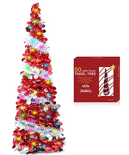 TURNMEON 5 Feet Tinsel Pre-lit Christmas Tree with 50 Color Lights, Pop up Christmas Tree Battery Operated 2 Modes Sequin Ball Ornaments Holiday Xmas Decoration Indoor Home Party Supplies(Red)