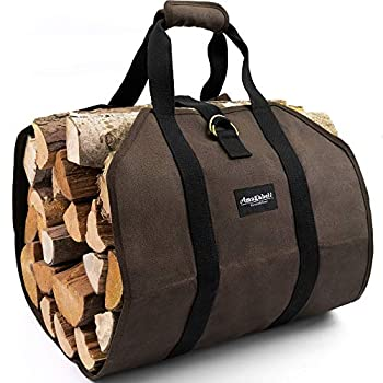 Amagabeli Firewood Carrier Bag Canvas Waxed Large Firewood Log Tote Carrying Indoor Bag Firewood Storage Tote Fire Place Log Holders Outdoor Fire Wood Carrier with Handles Heavy Duty Wood Dark Brown