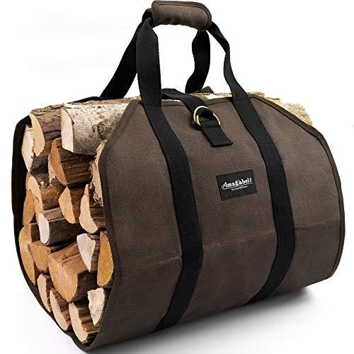 Amagabeli Brennholz-Tragetasche Canvas gewachste große Brennholz-Log-Tasche, die Innentasche trägt Brennholz-Aufbewahrungs-Tasche Kamin-Log-Halter Outdoor Heavy Duty Holz Dunkelbraun
