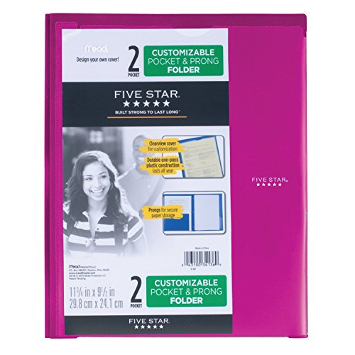 Five Star 2 Pocket Folder with Prong Fasteners, Folder with Pockets, Customizable Cover, Plastic, Color Selected for You, 1 Count (34136) Photo #12