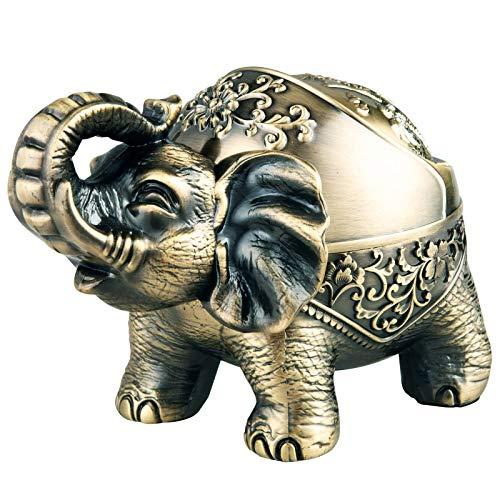 otutun Cenicero de Elefante, Cenicero Elefante Decorativo Vintage, Cenicero de Metal con Tapa Semicerrada para Uso en Exteriorese Interiores, Decoración Retro para el Hogar y la Oficina