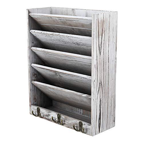 Superbpag - Soporte de madera para colgar en la pared, organizador de revistas y literatura con 6 ganchos