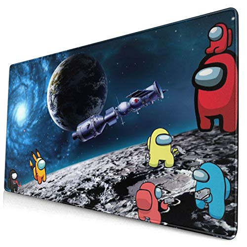 Among Us Large Extended Gaming Mouse Pad with Stitched Edges, Durable Non-Slip Natural Rubber Base, Waterproof Computer Keyboard Pad Mat for Esports Pros/Gamer/Desktop/Office/Home-Black