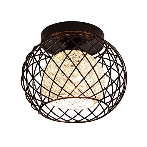 Lámpara de Techo Vintage,Retro de Plafón Industrial de Jaula de Hierro de...