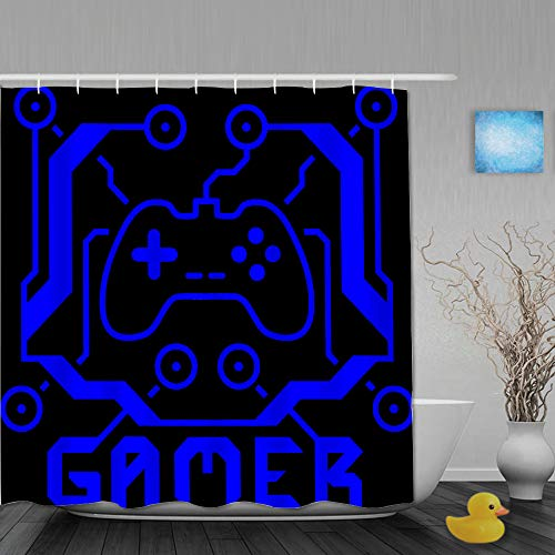 QINCO Duschvorhang,Neon-Videospiele,personalisierte Deko Badezimmer Vorhang,mit Haken,180 * 180