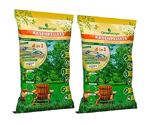 Rasenpellets dürreresistenter Rasen - ummantelte Rasensamen Rasensaat - für robusten und widerstandsfähigen Rasen - für ca. 22 m² bei Neuanlage / ca. 64 m² bei Nachsaat/ Reparatur (2x 950 GR)
