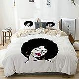 Juego de funda nórdica beige, mujer con pelo afro, dibujo de arte pop, pendientes funky y lápiz labial, juego de cama decorativo de 3 piezas con 2 fundas de almohada, fácil cuidado, antialérgico, suav