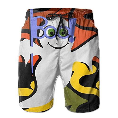 Happy Halloween Cute Ghost Wallpaper Comfortable Men's Water Sports Quick Dry Swim Trunks