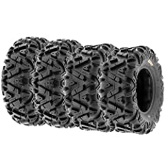 Front Size: 25x8-12 - Rear Size: 25x10-12 | Wheel (Rim) Diameter: Front 12 in - Rear 12 in Directional angled knobby tread design great in most terrain with high performance on trails and suitable for desert, mud, dirt and rock applications. Features...