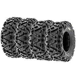 small Set of 4 off-road tires SunF Power.I ATV UTV Front 25×8-12 and Rear 25×10-12, 6PR Tubeless A033