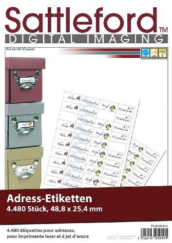 Sattleford Bedruckbare Aufkleber: 4480 Adress-Etiketten Mini 48,8x25,4 mm für Laser/Inkjet (Laserdruck-Etiketten)