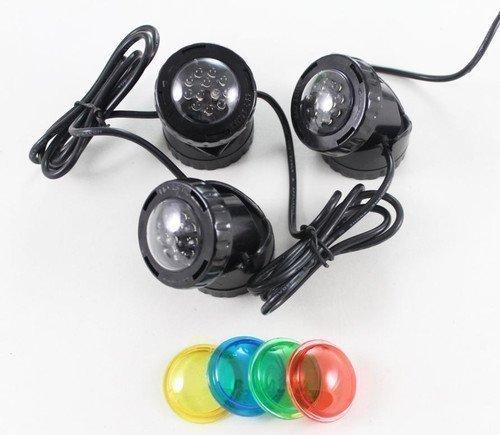 Jebao set met 3 LED-lampen, 12 V, met gekleurde glazen, voor vijververlichting onder water