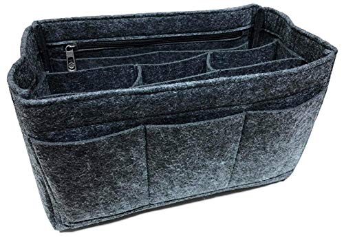 KARMA.DIEM - Organizador de bolsillos de fieltro grueso, ideal como organizador para el interior del bolso o como bolsa de cosméticos para la maleta Gris gris oscuro medium