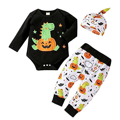 Xumplo 3 piezas de ropa para bebé niño o Halloween, calabaza, murciélagos, recién nacido, manga larga, ropa de algodón, para niños pequeños de 0 a 18 meses, Negro , 0-3 Meses