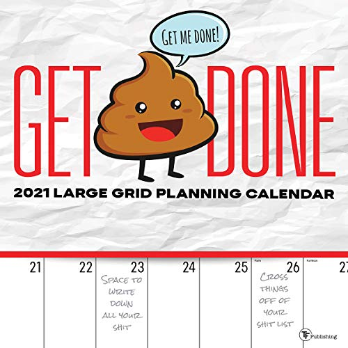 """TF PUBLISHING 2021 Big Grid Get Shit Done Monthly Wall Calendar - Appointment Tracker with Contacts/Notes Page - Enhance Home or Office Planning and Organization - Premium Matte Paper 12""""x12"""""""