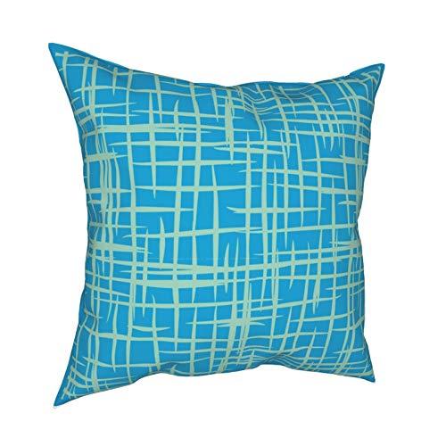 Funda de almohada para sofá o hogar, diseño retro de los años 50, color azul, con cremallera, 45,7 x 45,7 cm