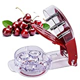 Cherry Pitter, Stainless Steel Multiple Cherry Seed Extractor Remover, Machine with Pits and Juice Container 6 Cherries(Red)